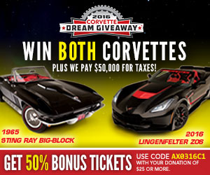 Win both a 1965 Corvette Sting Ray Roadster and a Lingenfelter modified 2016 Corvette Stingray Roadster!