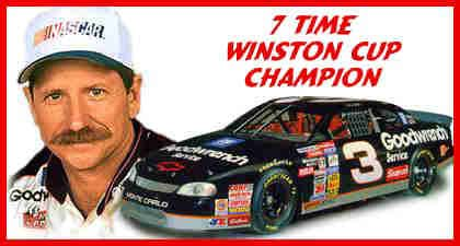 Media photograph of Dale and the #3 race car depicting 7 time Daytona race winner.