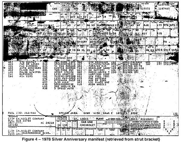 Figure 4: 1978 Corvette Silver Anniversary Manifest (retrieved from strut bracket)