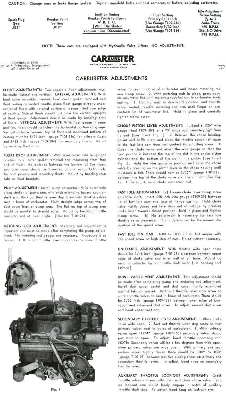 1959 Corvette Carburetor Specifications - CorvetteActionCenter com