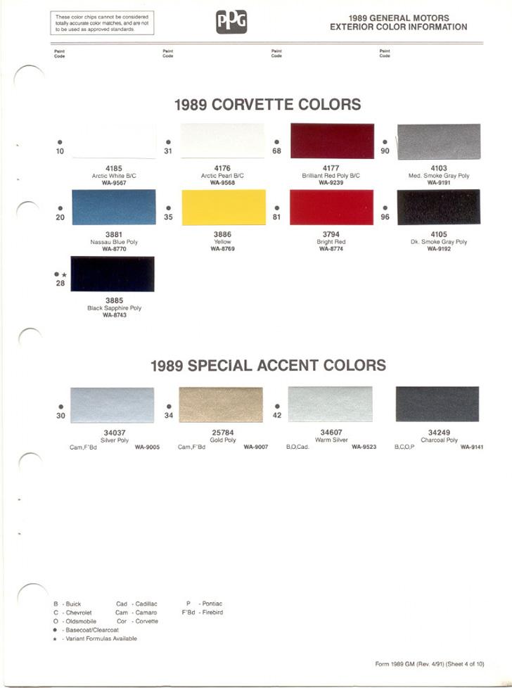 1989 Corvette Paint Colors