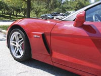 Close-up of carbon fiber fender in place on the 2006 Corvette Z06 Source: GM