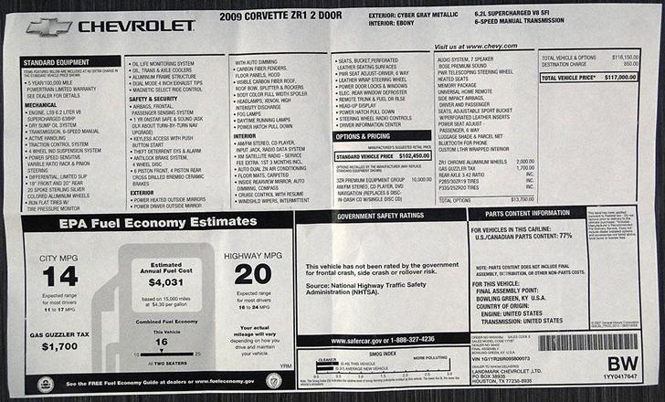 2009 Corvette ZR1 - 1G1YR26R095800073 - 2009 - 2013 C6 ...