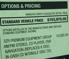 Standard Vehicle Price