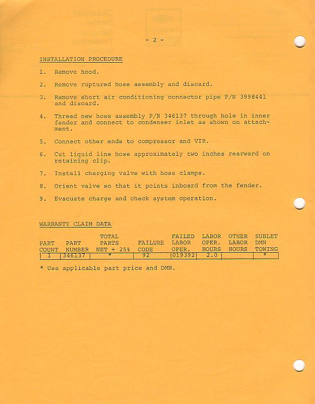 1973 Corvette: Service Bulletin: Exhaust Manifold to Air Conditioning Refridgerent Hose Clearance