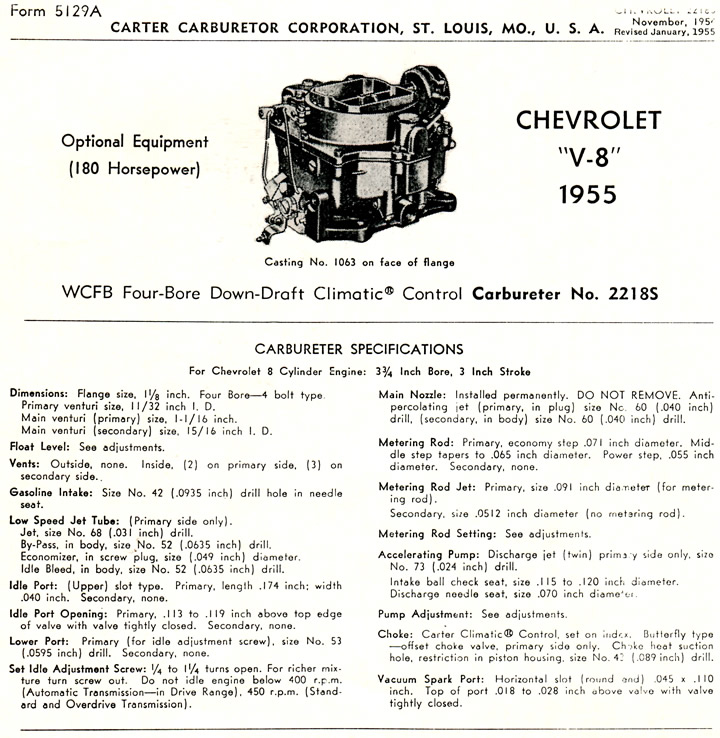 1955 Corvette Carter Carburetor Specifications
