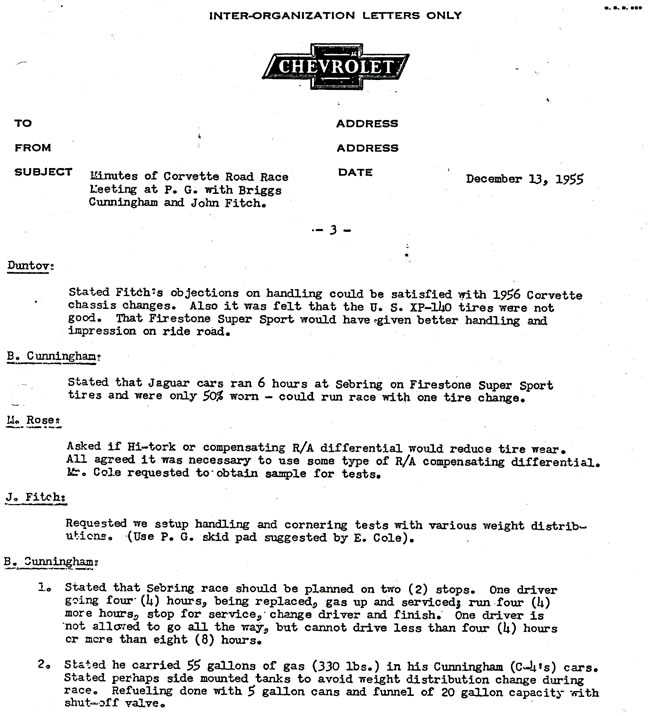 1956 Corvette Racing Inter-Organization Letter