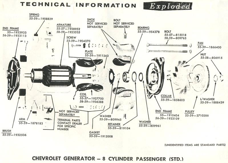1958 Corvette Chevrolet Partsmart Chevrolet Generator