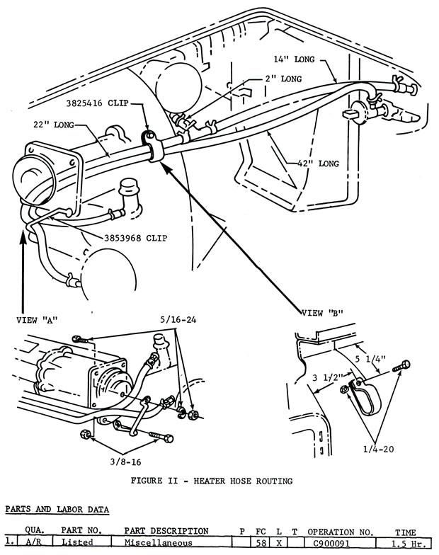 1966 corvette  service bulletin  heater hose routing change required