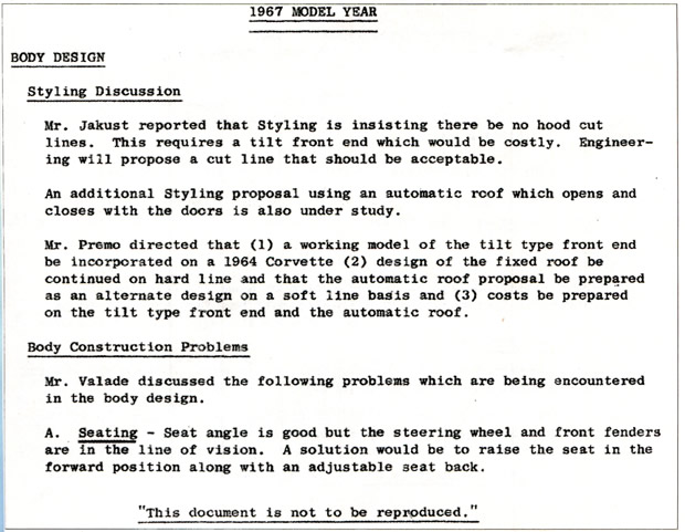 1967 Corvette:  Corvette Design Meeting - November 25, 1964