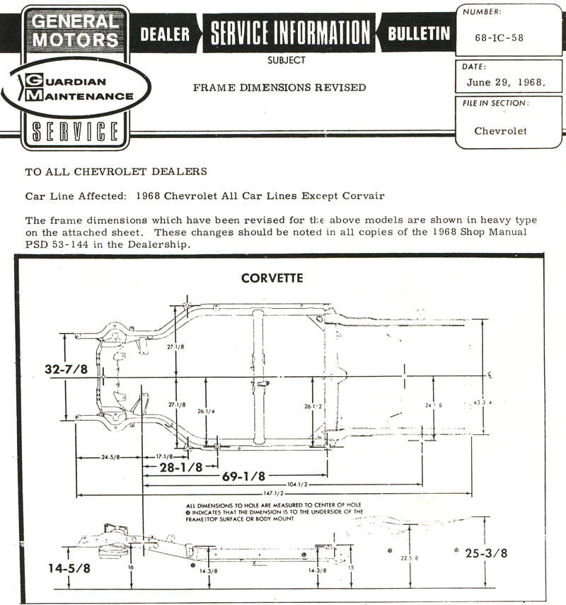 1968 Corvette: Service Bulletin: Frame Dimensions Revised - Print View