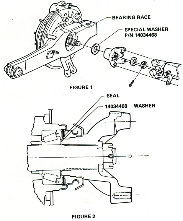 1980 corvette  service bulletin  rear wheel spindle yoke