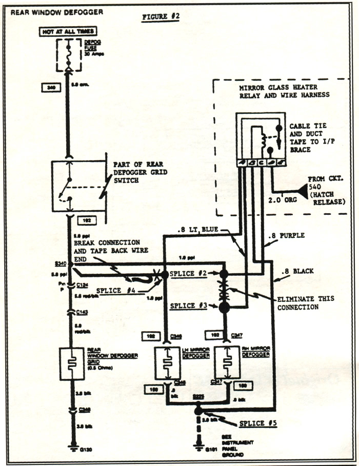 1984 corvette  service bulletin  rear hatch defogger circuit revision