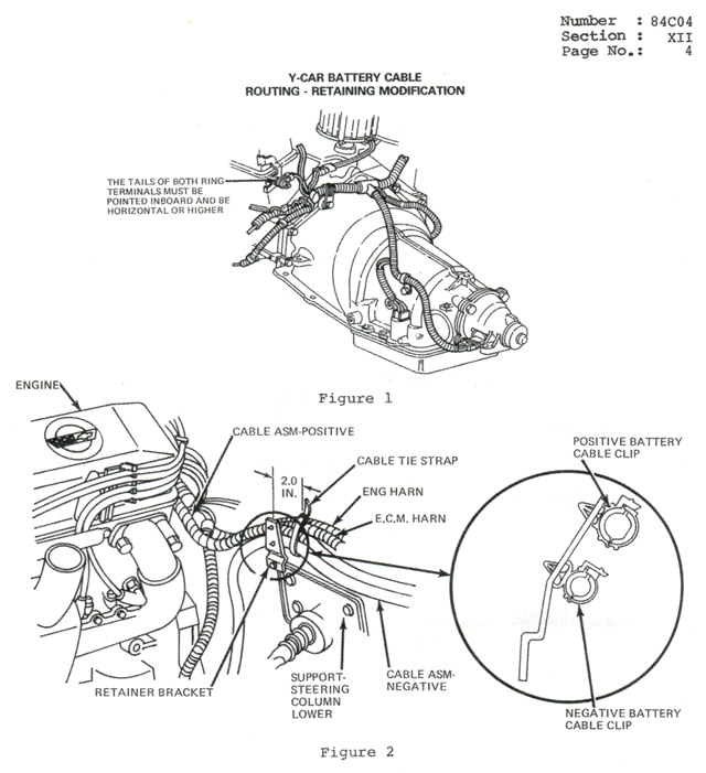1984 corvette  recall  positive battery cable routing