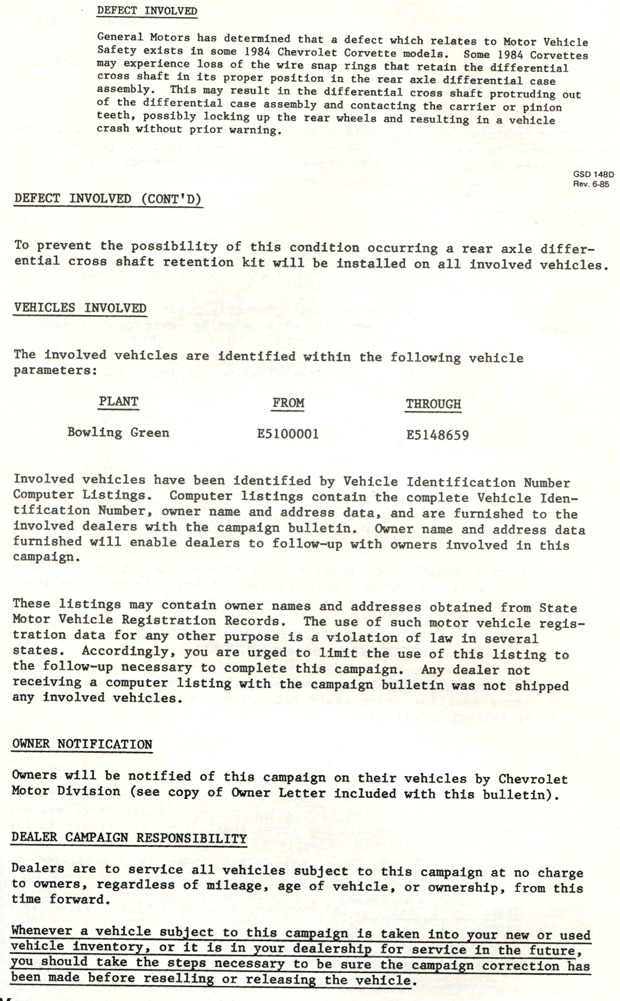1984 Corvette Safety Campaign - Rear Axle Differential Cross Shaft