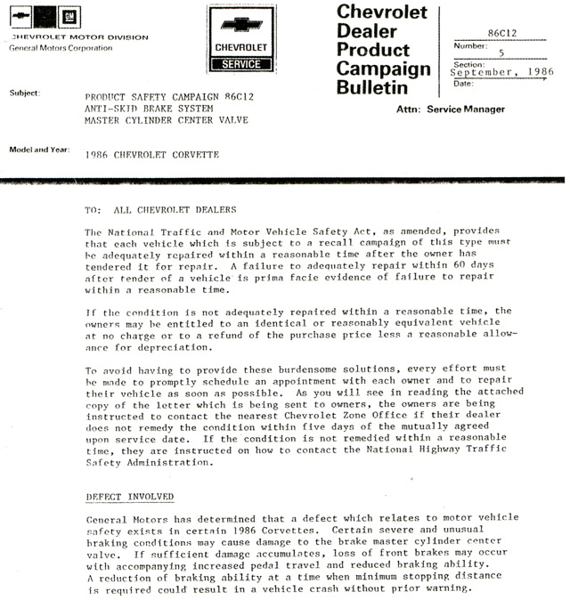 1986 Corvette Recall - Anti-Skid Brake System Master Cylinder Center Valve