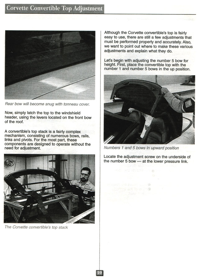 1998 Corvette Service News Corvette Convertible Top