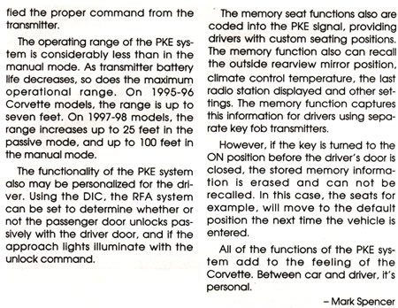 1995 - 2004 Corvette Passive Keyless Entry Explained
