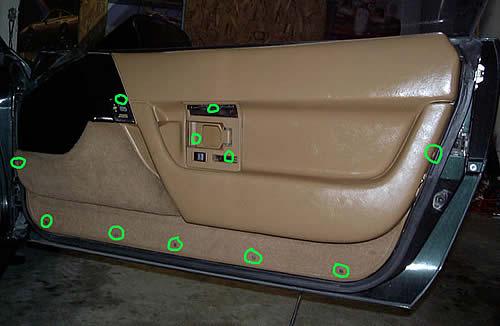 1990 1996 Corvette Inner Door Panel Screw Locations