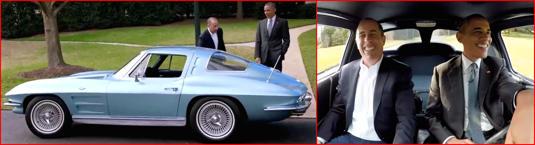[VIDEO] President Obama and Jerry Seinfeld Take Turns Driving a 1963 Corvette Stingray