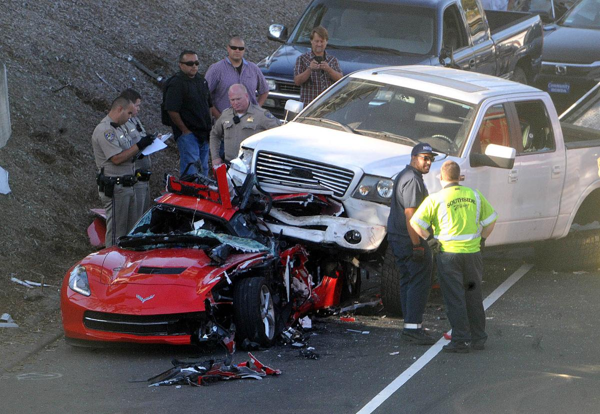 Truck Lands on Top of C7 Corvette in Costa Mesa, California