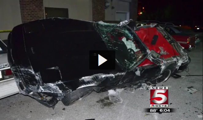 1995 Corvette Goes Airborne and Lands on Seven Parked Cars