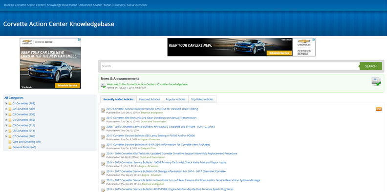 Site Update: Corvette Action Center Knowledge Base Now Mobile Compliant