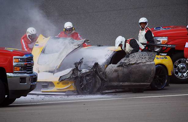 No. 4 Corvette C7.R Catches Fire During Test Session at the Roar Before the 24