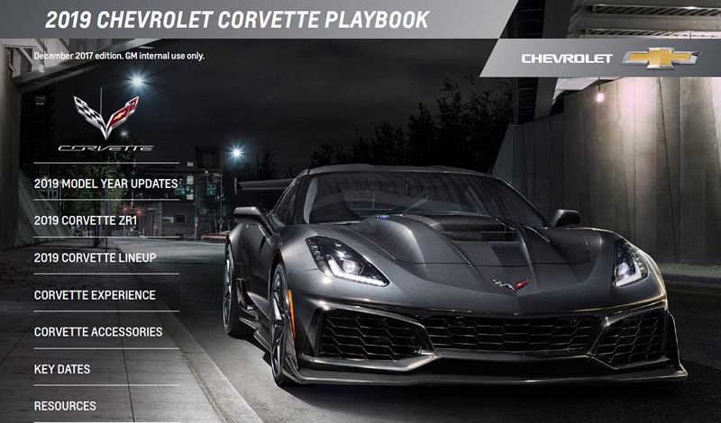 2019 Corvette Playbook Released by GM Showing What's New For All Models