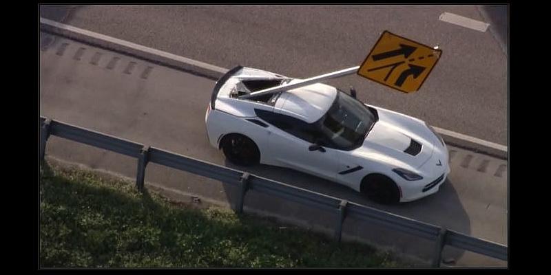 Airborne Highway Sign Impales Corvette