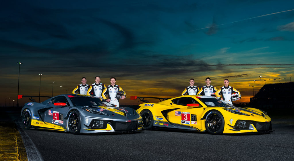Team Chevrolet Corvette pose with the first-ever mid-engine Corvette C8.R race cars. (Photo by Richard Prince for Chevy Racing)