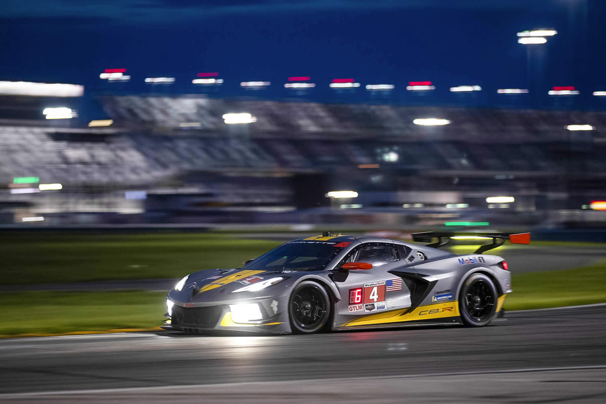 The #4 Mobil 1/SiriusXM Chevrolet Corvette C8.R driven by Oliver Gavin and Tommy Milner races to a fourth place finish in the GTLM class Saturday, October 10, 2020 during the IMSA WeatherTech SportsCar Championship at the Charlotte Motor Speedway Roval in Charlotte, North Carolina. (Photo by Richard Prince for Chevy Racing)