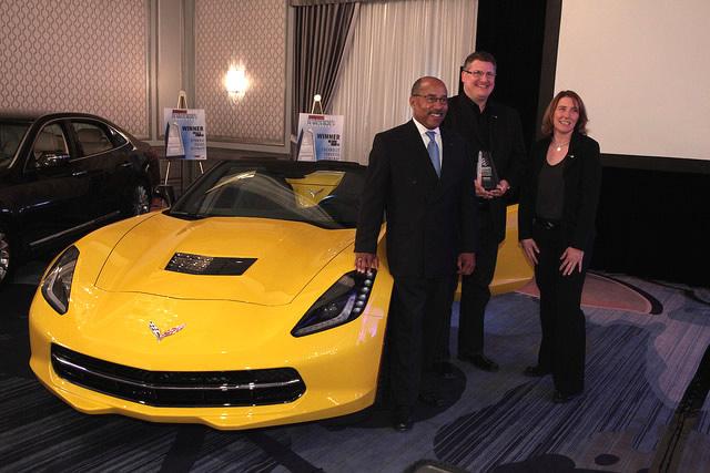 GM's Ed Welburn, Craig Sass and Helen Emsley pose with the new Corvette | Photo: WardsAuto