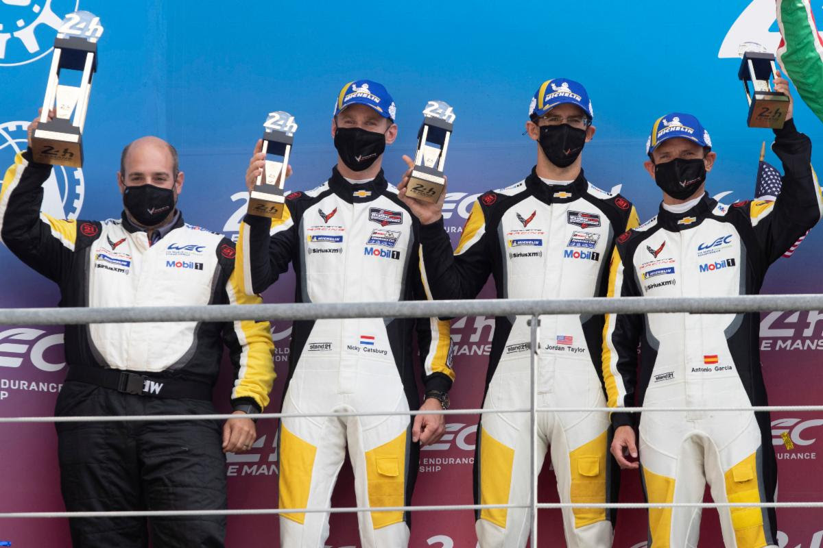 Corvette Racing's No. 63 Corvette C8.R driven by Antonio Garcia, Jordan Taylor and Nicky Catsburg take 2nd place in class behind Ferrari at the 24 Hours of Le Mans